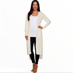 HALSTON Duster Button Front Cardigan Ivory Small